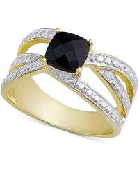Macy's - Sapphire (3/4 Ct. T.w.) & Diamond Accent Crisscross Statement Ring In 18k Gold-plated Sterling Silver - Lyst