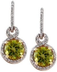 Effy Collection - Peridot (1-5/8 Ct. T.w.) And Diamond (1/4 Ct. T.w.) Drop Earrings In 14k Gold - Lyst