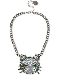 "Betsey Johnson - Hematite-tone Crystal Cat Pendant Necklace, 16"" + 3"" Extender - Lyst"