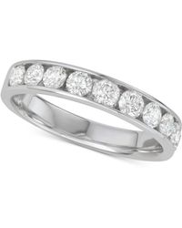 Macy's Diamond Channel-set Wedding Band (1 Ct. T.w.) In 14k White Gold - Metallic