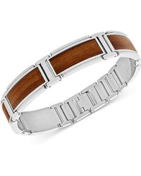 Macy's Stainless Steel And Willow Wood Inlay Bracelet - Metallic