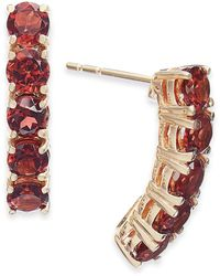 Macy's London Blue Topaz Curved Bar Drop Earrings (1-1/2 Ct. T.w.) In 14k Gold (also Available In Garnet) - Multicolor