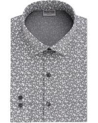 Kenneth Cole Reaction - Techni-cole Slim-fit Flex Collar Three-way Stretch Performance Gray Print Dress Shirt - Lyst