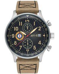 AVI-8 Hawker Hurricane Chronograph Tan Genuine Leather Strap Watch 42mm - Multicolor