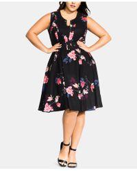 City Chic Plus Size Spring Lotus Dress - Black