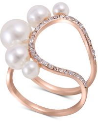 Guess - Rose Gold-tone Imitation Pearl & Crystal Statement Ring - Lyst