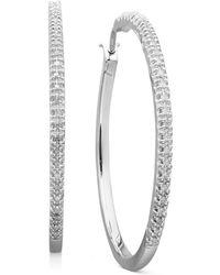 Macy's - Diamond Hoop Earrings In Sterling Silver (1/4 Ct. T.w.) - Lyst