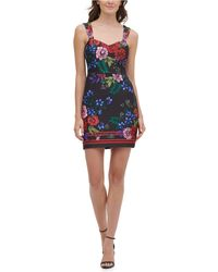 Guess Printed Sweetheart Bodycon Dress - Black