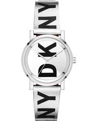 DKNY - Soho Black & Silver Leather-tone Strap Watch 34mm, Created For Macy's - Lyst