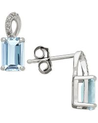 Macy's - Aquamarine (1-1/10 Ct. T.w.) And Diamond Accent Drop Earrings In 14k White Gold - Lyst
