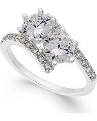 Charter Club - Silver-tone Cubic Zirconia 2-stone Ring - Lyst