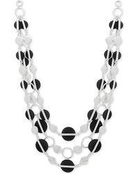 Nine West | Silver-tone Colored Disc Multi-row Necklace | Lyst