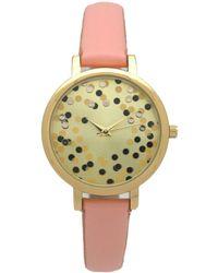 Olivia Pratt Confetti Thin Leather Strap Watch - Pink