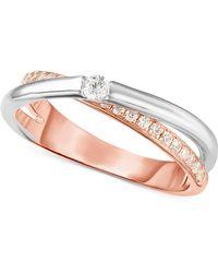 Arabella - Swarovski Zirconia (1/2 Ct. T.w.) Two-tone Ring In Sterling Silver & 18k Rose Gold-plate - Lyst