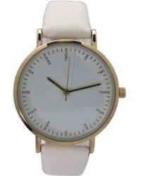 Olivia Pratt Simple Leather Strap Watch - White