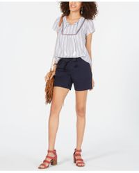 Style & Co. Tie-belt Cotton Shorts, Created For Macy's - Blue