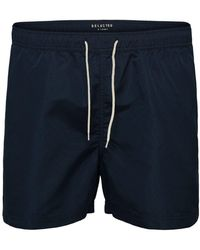 SELECTED Solid Color Swim Shorts - Blue