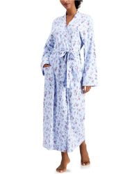Charter Club Printed Cotton Long Knit Robe, Created For Macy's - Blue