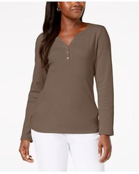 Karen Scott - Petite Cotton Henley-neck Top, Created For Macy's - Lyst