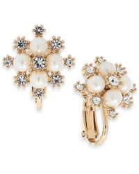 Charter Club Gold-tone Crystal & Imitation Pearl Snowflake Clip-on Button Earrings, Created For Macy's - Metallic