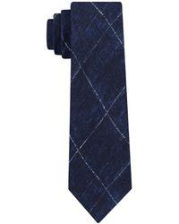 Michael Kors Contrast Chalk Grid Slim Silk Tie - Blue