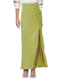 BCBGMAXAZRIA Ruched Satin Skirt - Green