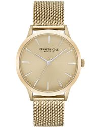 Kenneth Cole - Gold-tone Stainless Steel Mesh Bracelet Watch 42mm - Lyst