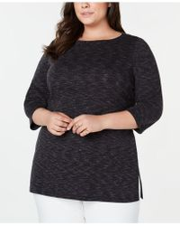 Karen Scott Plus Size Space-dye 3/4-sleeve Top, Created For Macy's - Black