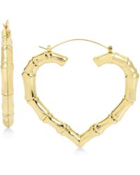 Betsey Johnson - Extra Large Gold-tone Bamboo Heart Hoop Earrings - Lyst