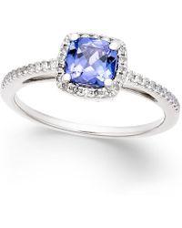 Macy's - Tanzanite (5/8 Ct. T.w.) And Diamond (1/8 Ct. T.w.) Ring In 14k White Gold - Lyst