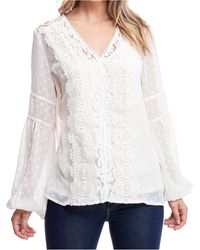 Fever Lace-trim Swiss-dot Top - White