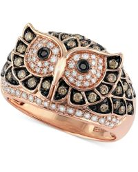 Effy Collection - White And Brown Diamond Owl Ring (3/4 Ct. T.w.) In 14k Rose Gold - Lyst