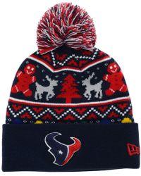 ff02c9cbe KTZ - Houston Texans Christmas Sweater Pom Knit Hat - Lyst