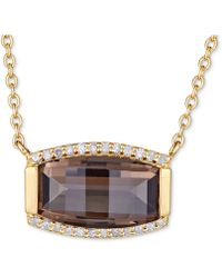 "Macy's - Smoky Quartz (3 Ct. T.w.) & White Topaz (1/8 Ct. T.w.) 18"" Pendant Necklace In Gold Over Sterling Silver Vermeil - Lyst"
