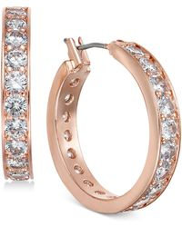 Charter Club - Rose Gold-tone Crystal Hoop Earrings, Created For Macy's - Lyst