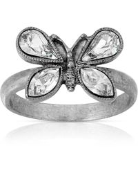 2028 Pewter Crystal Butterfly Ring - Metallic