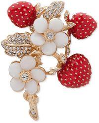 Anne Klein Gold-tone Crystal Strawberry Pin - Metallic