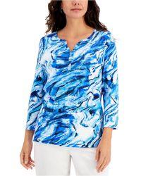 Karen Scott Printed 3/4-sleeve Henley Top, Created For Macy's - Blue