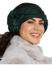 INC International Concepts Inc Cable-knit Headwrap With Faux Fur, Created For Macy's - Green