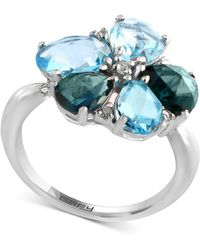 Effy Collection - Effy® Blue Topaz (5-3/8 Ct. T.w.) & Diamond (1/10 Ct. T.w.) Ring In 14k White Gold - Lyst