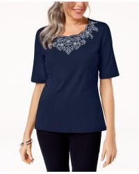 Karen Scott - Embroidered T-shirt, Created For Macy's - Lyst