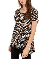 Alfani Striped Asymmetrical Top, Created For Macy's - Black