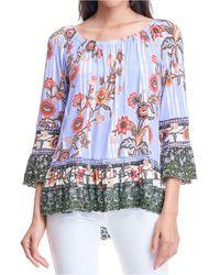 Fever Printed Scalloped-edge Top - Blue