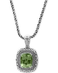"""Effy Collection - Effy® Prasiolite Ornate 18"""" Pendant Necklace (5-3/8 Ct. T.w.) In Sterling Silver - Lyst"""
