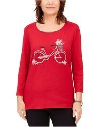 Karen Scott Petite Cotton Bicycle Graphic-print Top, Created For Macy's - Red