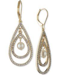 Anne Klein - Gold-tone Imitation Pearl & Pavé Orbital Drop Earrings - Lyst