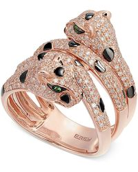 Effy Collection - Diamond (1 Ct. T.w.) And Tsavorite Accent Panther Ring In 14k Rose Gold - Lyst