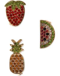 Charter Club Holiday Lane Gold-tone 3-pc. Set Pavé Fruit Pins, Created For Macy's - Metallic