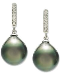 Macy's Cultured Tahitian Pearl (10mm) & Diamond (1/10 Ct. T.w.) Drop Earrings In 14k White Gold - Multicolor
