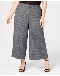 Anne Klein - Plus Size Plaid Cropped Pants - Lyst
